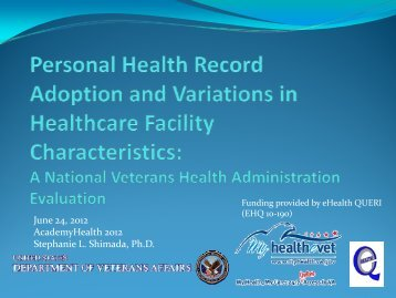 Personal Health Record Adoption and Variations ... - AcademyHealth
