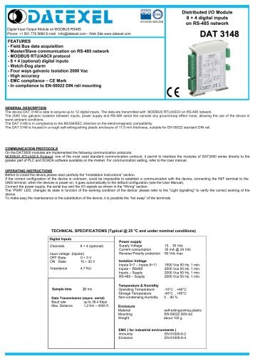 Digital Input output Module on RS485 - Datexel