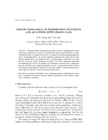 kernel estimation of distribution functions and quantiles with missing ...