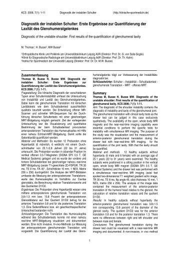 Diagnostik der instabilen Schulter - Klinische Sportmedizin