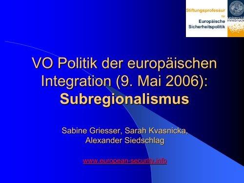 Subregionalismus in Europa - European Security Conference Initiative