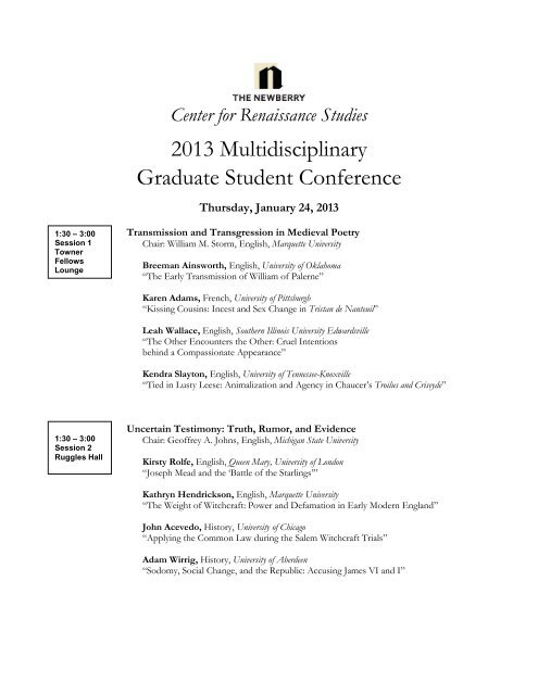 full conference schedule - Newberry Library