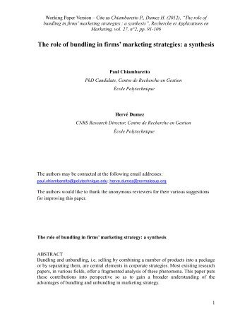 The role of bundling in firms' marketing strategies: a synthesis