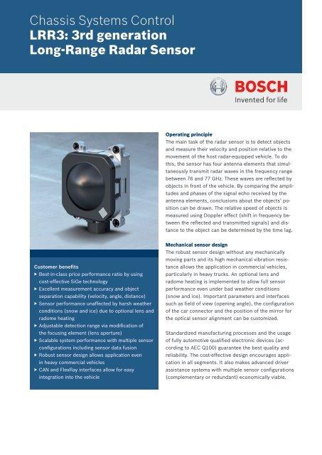 Datasheet Long-range radar sensor (PDF 153 64 kB) - Bosch