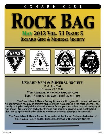 May 2013 Rock Bag Email Copy - Oxnard Gem & Mineral Society