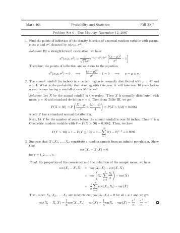 problem set on probability Introduction to probability, sample spaces, random variables, independent events, dozens of solved problems.
