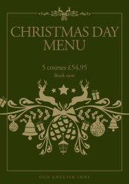 our Christmas Day Menu, with 5 courses for £54.95 - Old English Inns