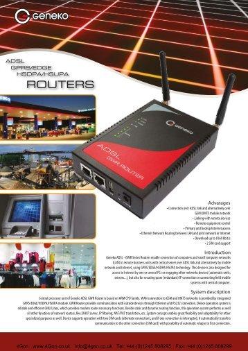 Geneko GAWR352 ADSL/3G router Datasheet - 4Gon