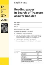 KS3 reading answer booklet - Test Papers