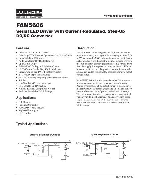 FAN5606 Serial LED Driver with Current-Regulated, Step     - DigiKey