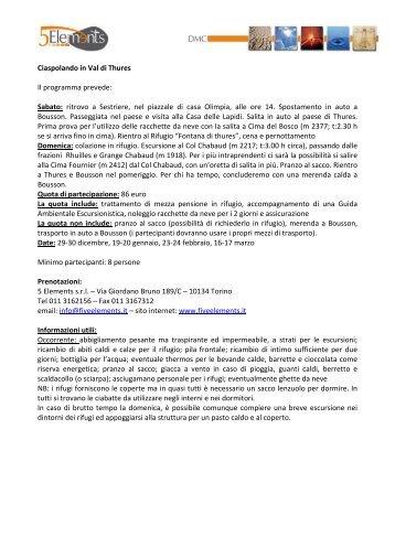 Ciaspolando in Val di Thures Il programma ... - Turismo Torino
