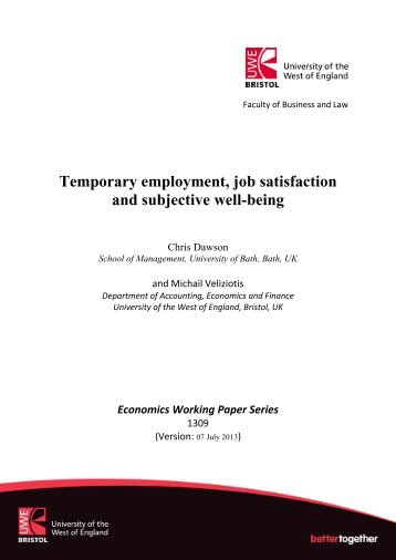 Temporary employment, job satisfaction and subjective well-being