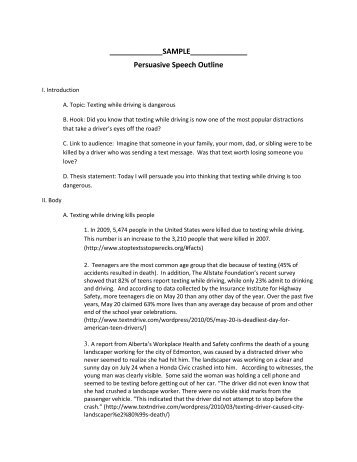 persuasive speech sample outline matt s media research sample persuasive speech outline teacher web