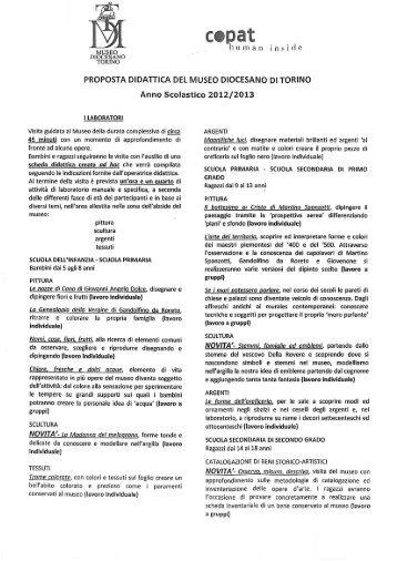 Scopri le proposte didattiche del Museo Diocesano di - Turismo Torino