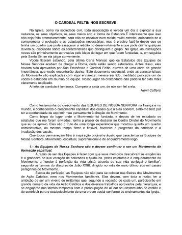 Carta do Cardeal Feltin - Equipes Notre-Dame
