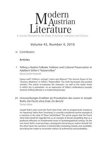Volume 43, Number 4, 2010 - Austrian Studies Association