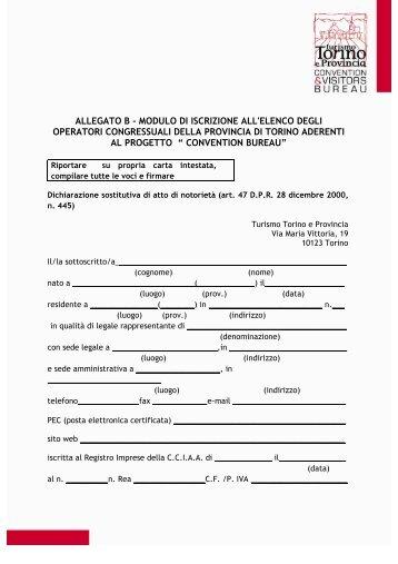 allegato b - modulo di iscrizione all'elenco degli ... - Turismo Torino