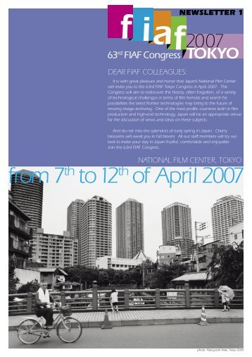 from 7th to 12th of April 2007 - the FIAF Congresses website