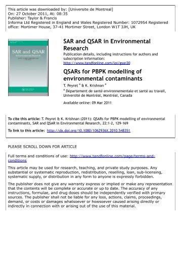 QSARs for PBPK modelling of environmental contaminants