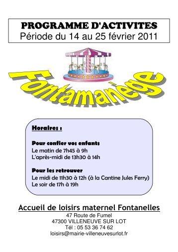 PROGRAMME D'ACTIVITES Période du 14 au ... - Villeneuve sur Lot