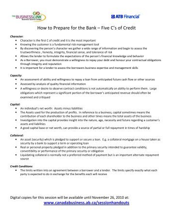 How to Prepare for the Bank Five C's of Credit