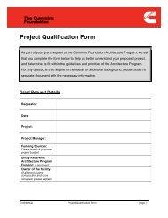 Project Qualification Form - Cummins