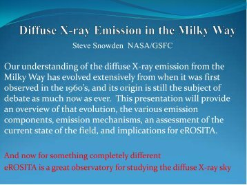 """S. Snowden: """"Diffuse X-ray Emission in the Milky Way"""" - MPE"""