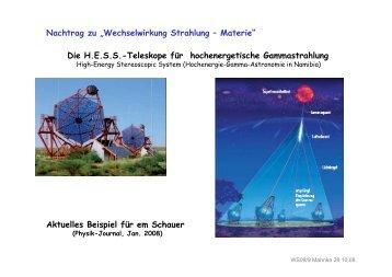 Die H.E.S.S.-Teleskope für hochenergetische Gammastrahlung ...