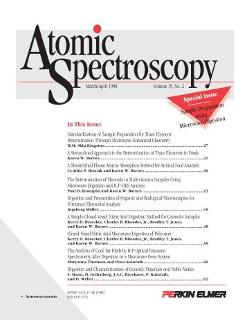 In This Issue: Special Issue Sample Preparation using Microwave ...