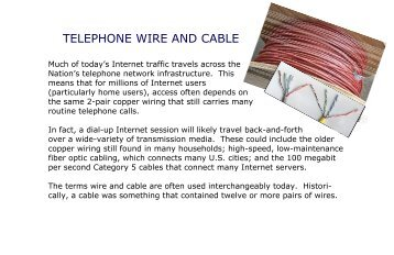 TELEPHONE WIRE AND CABLE - FCC