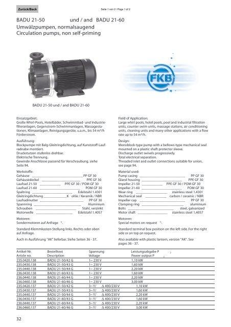 Datenblatt Badu 21 50 21 60 Fkb Schwimmbadtechnik