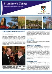 Message from the Headmaster - St Andrew's College