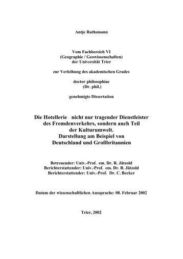 Die Hotellerie -  ub-dok - Universität Trier
