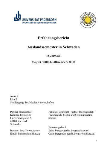 erfahrungsbericht auslandssemester in schweden ws 20102011 - Lebenslauf Auslandssemester