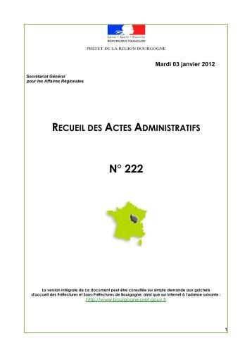 RAA 222 - Préfecture de la Côte-d'Or