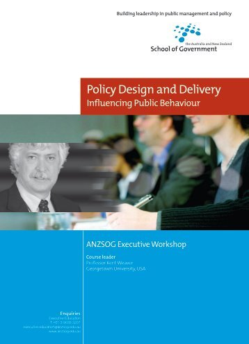 Policy Design and Delivery - Australia and New Zealand School of ...