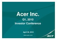 Q1, 2010 Investor Conference - Acer Group