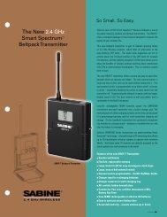 New SW75-T Beltpack Transmitter Brochure - Sabine, Inc.