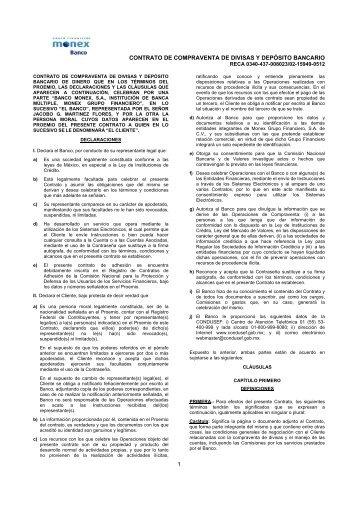 CONTRATO DE COMPRAVENTA DE DIVISAS Y ... - Monex