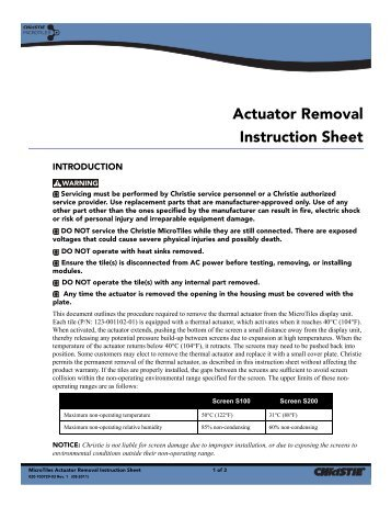 Christie MicroTiles Actuator Removal Instruction Sheet