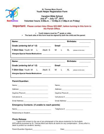 Vacation Bible School Registration Form - St. Albert the Great ...
