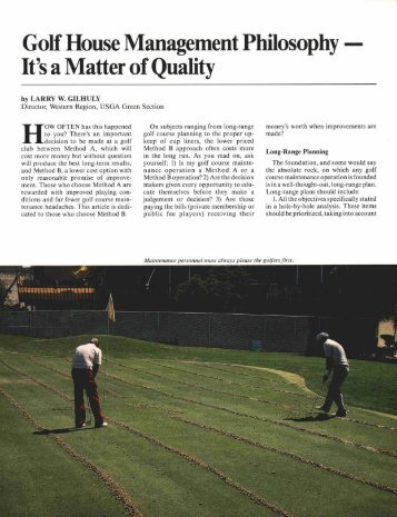 It's a Matter of Quality - USGA Green Section Record
