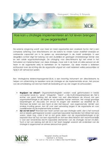 Nieuwsbrief Strategische leiderschapsagenda - Mcr Bvba