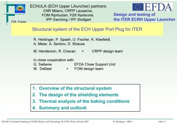 Structural system of the ECH Upper Port Plug for ITER 1. Overview ...
