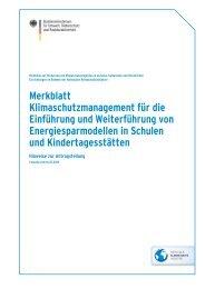 Merkblatt Klimaschutzmanagement für die Einführung und ...
