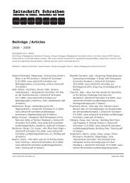 Beiträge/Articles 2006–2009 - Zeitschrift Schreiben