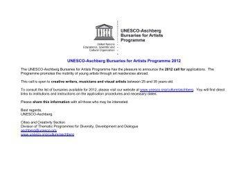 UNESCO-Aschberg Call for Application- Appel candidature ...