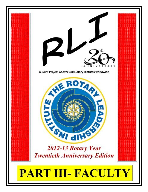 Faculty Course Guide - Part III (3.7Mb) - Rotary Leadership Institute