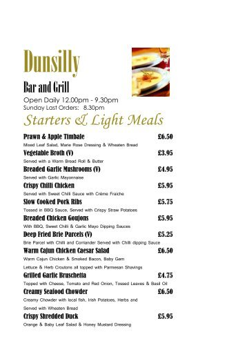 Download Grill Menu - Dunsilly Hotel