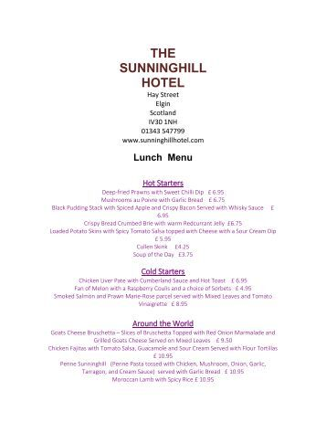 Sunninghill Hotel Menu